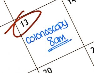 Calendar with colonoscopy appointment reminder