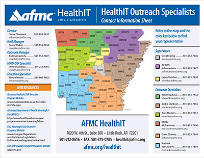 Map of Arkansas AFMC HealthIT specialist by county