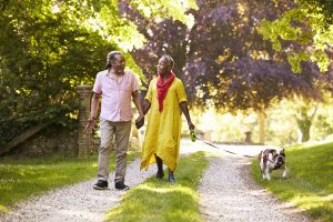 image of couple walking their dog